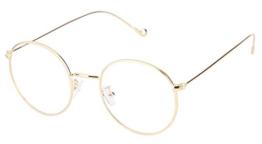 Lukis Brille Nerdbrille Retro Rund Unisex Metallgestell Brillenfassung Dekobrillen 140x50mm Gold - 1