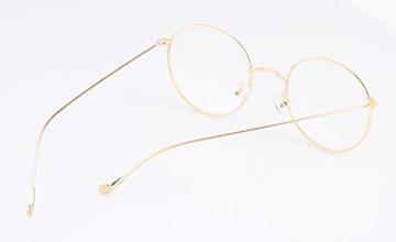 Lukis Brille Nerdbrille Retro Rund Unisex Metallgestell Brillenfassung Dekobrillen 140x50mm Gold - 4