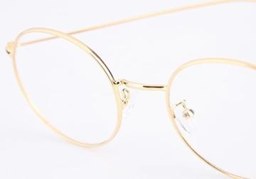 Lukis Brille Nerdbrille Retro Rund Unisex Metallgestell Brillenfassung Dekobrillen 140x50mm Gold - 5