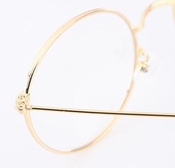 Lukis Brille Nerdbrille Retro Rund Unisex Metallgestell Brillenfassung Dekobrillen 140x50mm Gold - 6