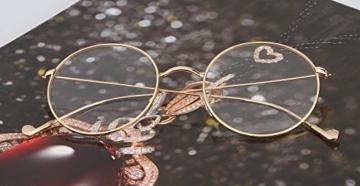 Lukis Brille Nerdbrille Retro Rund Unisex Metallgestell Brillenfassung Dekobrillen 140x50mm Gold - 7