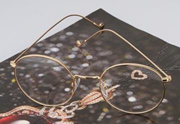 Lukis Brille Nerdbrille Retro Rund Unisex Metallgestell Brillenfassung Dekobrillen 140x50mm Gold - 8