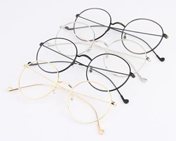 Lukis Brille Nerdbrille Retro Rund Unisex Metallgestell Brillenfassung Dekobrillen 140x50mm Gold - 9