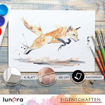 lunera premium Aquarellpapier 300g DIN A4 mit 45 Blatt naturweiß kaltgepresst I Aquarellblock perfekt für Aquarell, Zeichnen, Malen, Mischtechniken und Brush Lettering - 2
