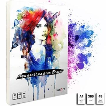 lunera premium Aquarellpapier 300g DIN A4 mit 45 Blatt naturweiß kaltgepresst I Aquarellblock perfekt für Aquarell, Zeichnen, Malen, Mischtechniken und Brush Lettering - 1