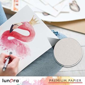 lunera premium Aquarellpapier 300g DIN A4 mit 45 Blatt naturweiß kaltgepresst I Aquarellblock perfekt für Aquarell, Zeichnen, Malen, Mischtechniken und Brush Lettering - 5