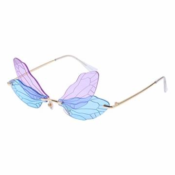 LUOEM Randlose Sonnenbrille Libellenflügel Unregelmäßige Neuheit Flügel Partybrille Blau Lila Unisex Mode Sonnenbrille Party Maskerade Karneval Musikfestival Kostüm Zubehör Foto Requisiten - 3