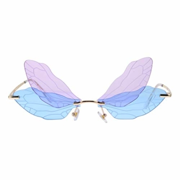LUOEM Randlose Sonnenbrille Libellenflügel Unregelmäßige Neuheit Flügel Partybrille Blau Lila Unisex Mode Sonnenbrille Party Maskerade Karneval Musikfestival Kostüm Zubehör Foto Requisiten - 1
