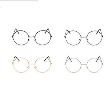 LUOEM Unisex Retro Runde Brillen Klare Linse Gläser Ultra Light für Santa Claus und Harry Potter Cosplay (Gun-Farbe) - 3