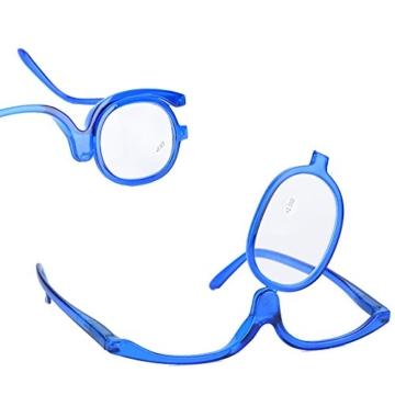 Make-Up Schminkbrille mit klappbaren Brillenglas, Make-Up Schminkbrille mit klappbaren Brillenglas Modische Schminkhilfe (Blau 300) - 3