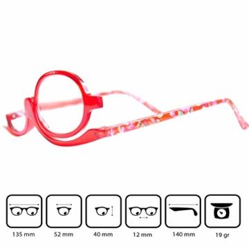 Make-Up Schminkbrille mit klappbaren Brillenglas, Modische Schminkhilfe mit GRATIS Brillenetui +3.5 Dioptrien (Rot) - 2