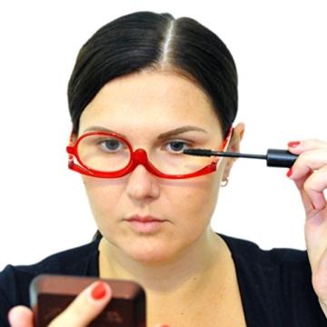 Make-Up Schminkbrille mit klappbaren Brillenglas, Modische Schminkhilfe mit GRATIS Brillenetui +3.5 Dioptrien (Rot) - 3
