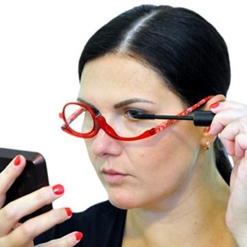 Make-Up Schminkbrille mit klappbaren Brillenglas, Modische Schminkhilfe mit GRATIS Brillenetui +3.5 Dioptrien (Rot) - 4