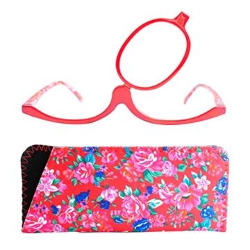 Make-Up Schminkbrille mit klappbaren Brillenglas, Modische Schminkhilfe mit GRATIS Brillenetui +3.5 Dioptrien (Rot) - 1