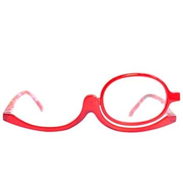 Make-Up Schminkbrille mit klappbaren Brillenglas, Modische Schminkhilfe mit GRATIS Brillenetui +3.5 Dioptrien (Rot) - 6