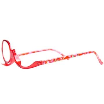 Make-Up Schminkbrille mit klappbaren Brillenglas, Modische Schminkhilfe mit GRATIS Brillenetui +3.5 Dioptrien (Rot) - 7
