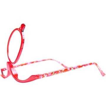 Make-Up Schminkbrille mit klappbaren Brillenglas, Modische Schminkhilfe mit GRATIS Brillenetui +3.5 Dioptrien (Rot) - 8