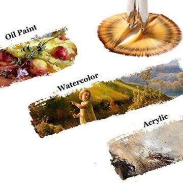 Malpinsel-Set aus goldenem Ahornholz, professioneller Malpinsel für Acryl, Aquarell, Ölmalerei, 6 x Fächeröl-Pinsel., Fan Brushes - 2