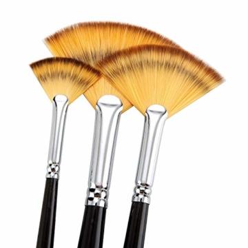 Malpinsel-Set aus goldenem Ahornholz, professioneller Malpinsel für Acryl, Aquarell, Ölmalerei, 6 x Fächeröl-Pinsel., Fan Brushes - 3
