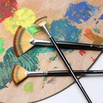 Malpinsel-Set aus goldenem Ahornholz, professioneller Malpinsel für Acryl, Aquarell, Ölmalerei, 6 x Fächeröl-Pinsel., Fan Brushes - 4