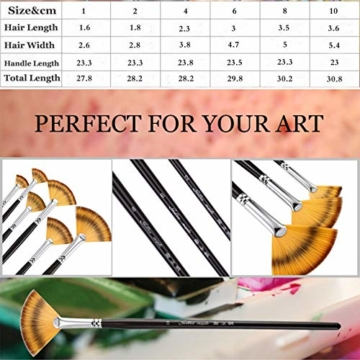 Malpinsel-Set aus goldenem Ahornholz, professioneller Malpinsel für Acryl, Aquarell, Ölmalerei, 6 x Fächeröl-Pinsel., Fan Brushes - 5