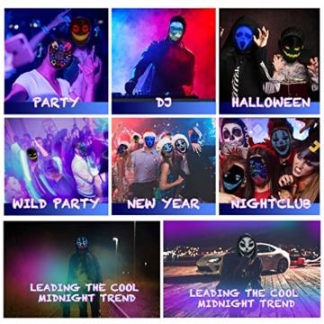 megoo Led Maske mit Bluetooth programmierbar,Karneval Maskerade Geburtstag kostüm Cosplay Party Halloween leuchten Erwachsenen Maske,coolste vollgesichtsmaske Maske im Jahr 2021(USB Aufladung) - 2