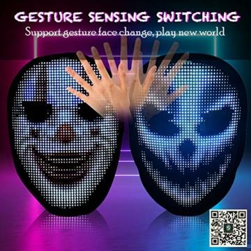 megoo Led Maske mit Bluetooth programmierbar,Karneval Maskerade Geburtstag kostüm Cosplay Party Halloween leuchten Erwachsenen Maske,coolste vollgesichtsmaske Maske im Jahr 2021(USB Aufladung) - 3