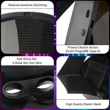 megoo Led Maske mit Bluetooth programmierbar,Karneval Maskerade Geburtstag kostüm Cosplay Party Halloween leuchten Erwachsenen Maske,coolste vollgesichtsmaske Maske im Jahr 2021(USB Aufladung) - 4