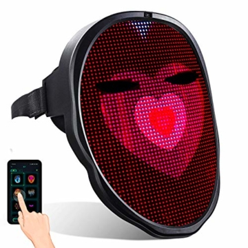 megoo Led Maske mit Bluetooth programmierbar,Karneval Maskerade Geburtstag kostüm Cosplay Party Halloween leuchten Erwachsenen Maske,coolste vollgesichtsmaske Maske im Jahr 2021(USB Aufladung) - 1