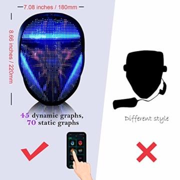 megoo Led Maske mit Bluetooth programmierbar,Karneval Maskerade Geburtstag kostüm Cosplay Party Halloween leuchten Erwachsenen Maske,coolste vollgesichtsmaske Maske im Jahr 2021(USB Aufladung) - 5
