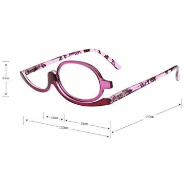 Milya Make-Up Schminkbrille Rotatable Flip Up Brille Drehbare Lesebrille Presbyopie Brille Sehhilfe Lesehilfe Lila Stärke +3,5 - 2