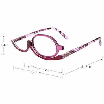 Milya Make-Up Schminkbrille Rotatable Flip Up Brille Drehbare Lesebrille Presbyopie Brille Sehhilfe Lesehilfe Lila Stärke +3,5 - 3
