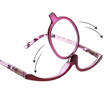 Milya Make-Up Schminkbrille Rotatable Flip Up Brille Drehbare Lesebrille Presbyopie Brille Sehhilfe Lesehilfe Lila Stärke +3,5 - 4