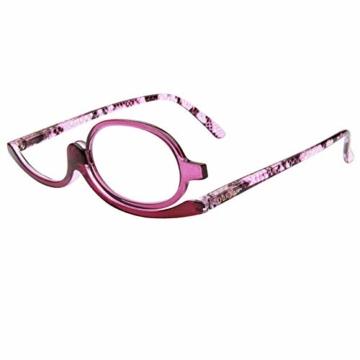 Milya Make-Up Schminkbrille Rotatable Flip Up Brille Drehbare Lesebrille Presbyopie Brille Sehhilfe Lesehilfe Lila Stärke +3,5 - 1