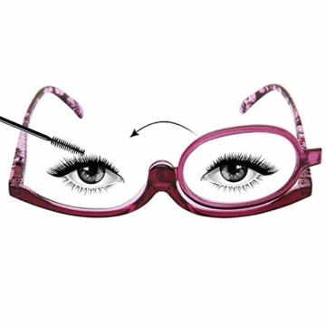 Milya Make-Up Schminkbrille Rotatable Flip Up Brille Drehbare Lesebrille Presbyopie Brille Sehhilfe Lesehilfe Lila Stärke +3,5 - 5