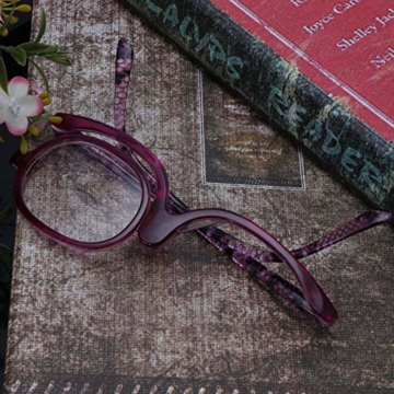 Milya Make-Up Schminkbrille Rotatable Flip Up Brille Drehbare Lesebrille Presbyopie Brille Sehhilfe Lesehilfe Lila Stärke +3,5 - 6