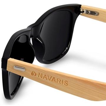Navaris Wayfarer Sonnenbrille UV400 - Damen Herren Holz - Brille mit Bambus Bügeln - Holzbrille mit Etui - unterschiedliche Farben - 3