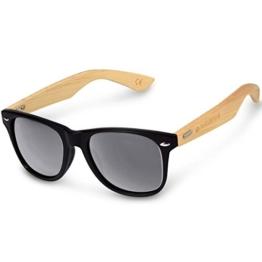 Navaris Wayfarer Sonnenbrille UV400 - Damen Herren Holz - Brille mit Bambus Bügeln - Holzbrille mit Etui - unterschiedliche Farben - 1