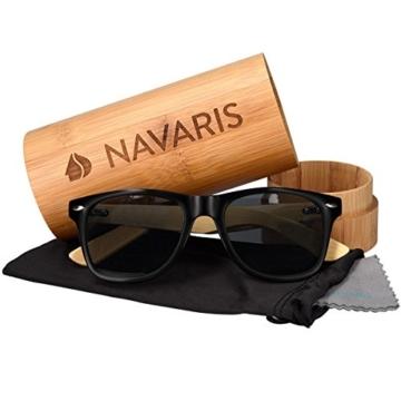 Navaris Wayfarer Sonnenbrille UV400 - Damen Herren Holz - Brille mit Bambus Bügeln - Holzbrille mit Etui - unterschiedliche Farben - 4