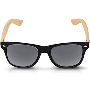 Navaris Wayfarer Sonnenbrille UV400 - Damen Herren Holz - Brille mit Bambus Bügeln - Holzbrille mit Etui - unterschiedliche Farben - 7