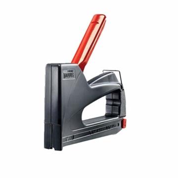 Novus Handtacker J - 02 creativ power, Großer Hobby-Tacker aus ABS-Kunststoff, Griffverriegelung und Hinterlademechanik, Für Feindrahtklammern und Rundklammern bis 14 mm Länge,  Ideal für den Einsatz - 1