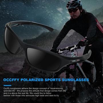 Occffy Polarisierte Sportbrille Sonnenbrille Fahrradbrille mit UV400 Schutz für Herren Autofahren Laufen Radfahren Angeln Golf TR90 (599 Schwarze Matte Rahmen mit Schwarze Linse) - 2