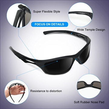 Occffy Polarisierte Sportbrille Sonnenbrille Fahrradbrille mit UV400 Schutz für Herren Autofahren Laufen Radfahren Angeln Golf TR90 (599 Schwarze Matte Rahmen mit Schwarze Linse) - 4
