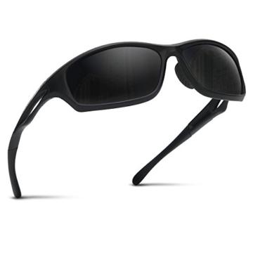 Occffy Polarisierte Sportbrille Sonnenbrille Fahrradbrille mit UV400 Schutz für Herren Autofahren Laufen Radfahren Angeln Golf TR90 (599 Schwarze Matte Rahmen mit Schwarze Linse) - 1