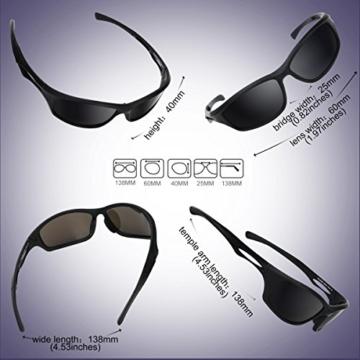 Occffy Polarisierte Sportbrille Sonnenbrille Fahrradbrille mit UV400 Schutz für Herren Autofahren Laufen Radfahren Angeln Golf TR90 (599 Schwarze Matte Rahmen mit Schwarze Linse) - 5