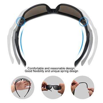 Occffy Polarisierte Sportbrille Sonnenbrille Fahrradbrille mit UV400 Schutz für Herren Autofahren Laufen Radfahren Angeln Golf TR90 (599 Schwarze Matte Rahmen mit Schwarze Linse) - 6