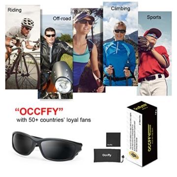 Occffy Polarisierte Sportbrille Sonnenbrille Fahrradbrille mit UV400 Schutz für Herren Autofahren Laufen Radfahren Angeln Golf TR90 (599 Schwarze Matte Rahmen mit Schwarze Linse) - 7