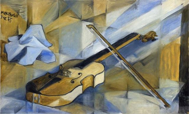 Ölbild (Original): Kubistische Violine v. Martin Mißfeldt, Dez. 1985, Öl auf Leinwand
