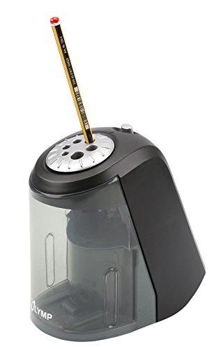 Olymp AS 607 Elektrischer Spitzer (Bleistifte, Buntstifte, Kohlestifte, Bleistift-Spitzer mit Dose/Behälter aus Kunststoff, Anspitzer von 6 bis 11 mm Durchmesser) - 2