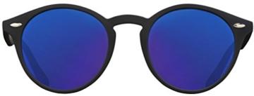 Original La Optica Verspiegelte UV400 Runde Unisex Retro Sonnenbrille - Farben, Einzel-/Doppelpacks (Einzelpack Rubber Schwarz (POLARISIERTE Gläser: Blau verspiegelt)) - 2